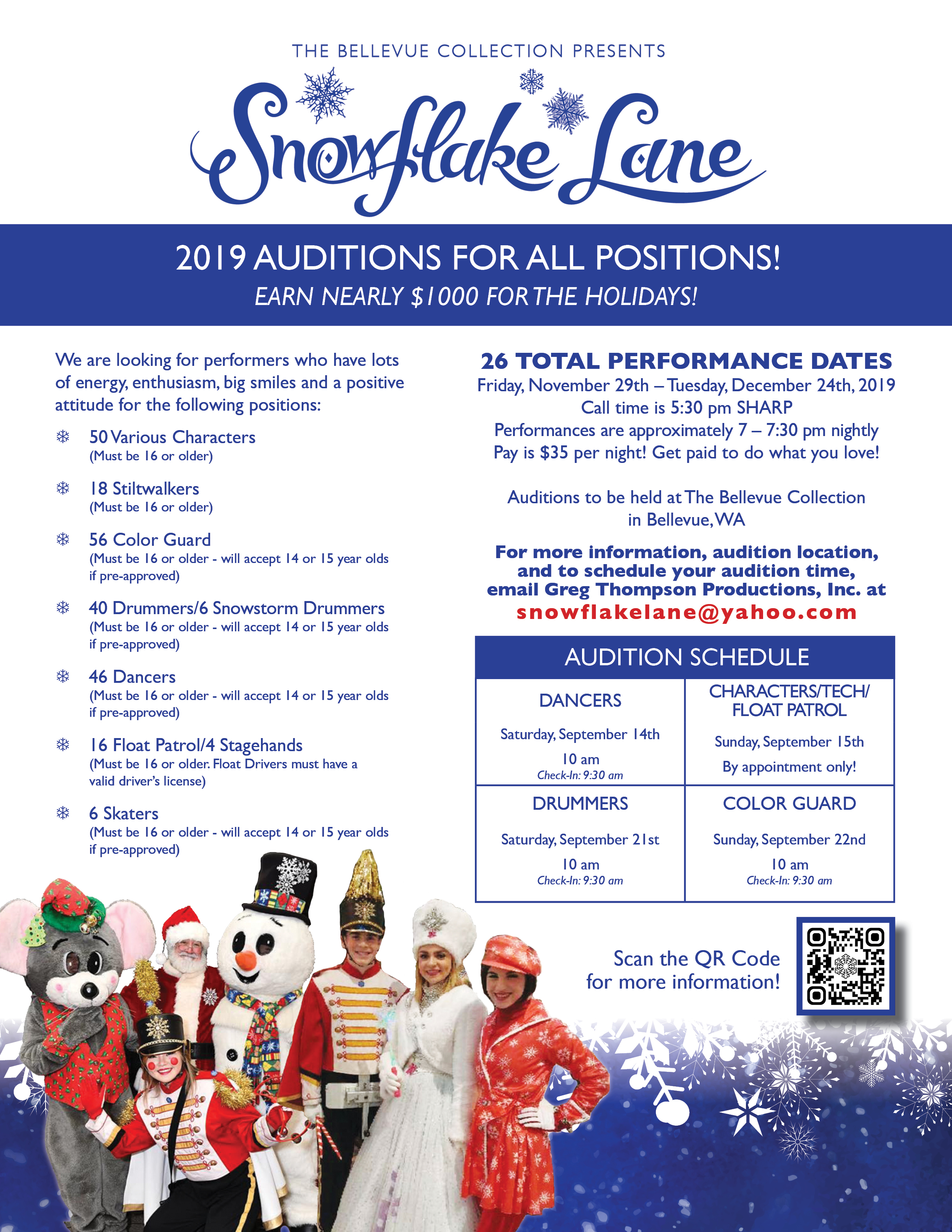 Snowflake Lane 2019 Auditions | Bellevue.com